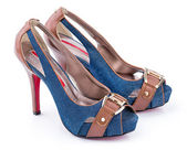 Pair of Jeans woman shoes — Stock Photo
