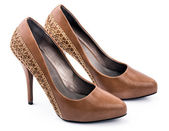 Pair of Brown woman shoes — Stock fotografie