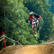 Jump with a mountain bike — 图库照片