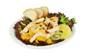 Salad with smoked chicken and vegetables. — Stock Photo