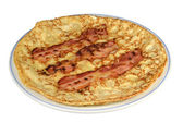 Pancake with bacon. — Stock Photo