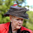 NETHERLANDS - VORDEN - CIRCA AUGUST 2012: Woman in beautiful costume with hat at the annual castles horse ride. — Stock Photo #45785573