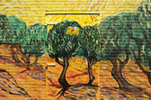 "NETHERLANDS - WASSENAAR - CIRCA MAY 2014: Painters of the group ""Rembrandt Paintings"" have a power house painted with the painting: Olive trees with yellow sky and sun from Vincent van Gogh. — Stock Photo"