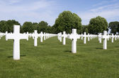 NETHERLANDS - MARGRATEN - CIRCA JUNE 2014: Crosses on military graves of fallen U.S. soldiers at the Netherlands American Cemetery and Memorial. — Fotografia Stock