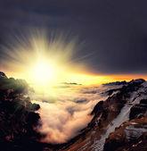 霧のサンセット — ストック写真
