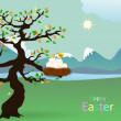 Happy Easter. bird's nest  — 图库矢量图片