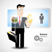 Businessman pressing — Stock Vector