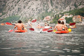 Kayaks in the Bay of Kotor — Stock Photo