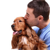 Handsome man with dog — Stock Photo
