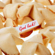 Royalty-Free Stock Photo: GOOD LUCK! - backlit fortune cookies