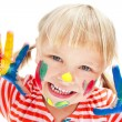 Cute little girl with painted hands. — Stock Photo #14073880