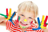 Cute little girl with painted hands. — Stock Photo
