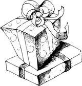 Sketch gift box handdrawn vector illustration — Stock Vector