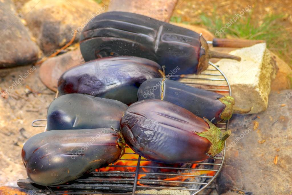 Roasting eggplants upon a camp fire — Stock Photo #12166096