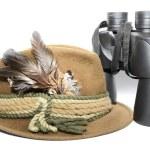 Hat and binoculars — Stock Photo