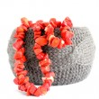 Bracelet and coral beads — Stock Photo