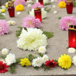 Flowers and candles on a grave — Stock Photo