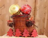 Décoration de Noël et une botte de treillis — Photo