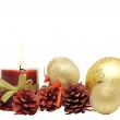 Bunch of christmas decoration and candle — Stock Photo
