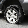 Exploded truck tire — Stock Photo