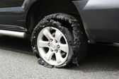 Exploded truck tire — Foto Stock