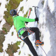 Ice climbing in winter — Stock Photo