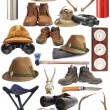 Collection of hunting and outdoor equipment — Stock Photo #22793272