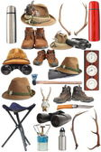 Collection of hunting and outdoor equipment — Stock Photo