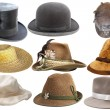 Collection of isolated hats — Stock Photo