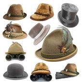 Collection of oktoberfest and hunting hats — Stock Photo