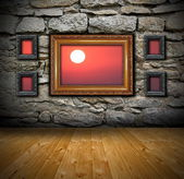 Grunge interior with abstract view to sunset — Stock Photo
