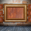 Backdrop with wooden frame on wall — Stock Photo