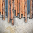 Grungy planks montage on concrete — Stock Photo