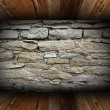 Old interior background with weathered stone wall — Stock Photo
