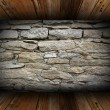 Old interior background with weathered stone wall — Photo