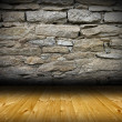 Stock Photo: Interior room backdrop with wood and stone