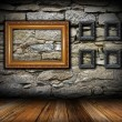 Vintage interior backdrop with frames — Stock Photo