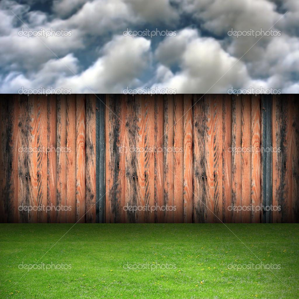 Magnifique toile de fond jardin nuageux photographie taviphoto 37021247 for Cloture de jardin en toile