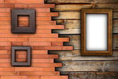 Abstract wood backdrop with frames — Stok fotoğraf