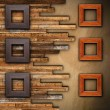 Frames on wooden finished wall — Stock Photo #41475433