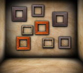 Frames on empty room — Stock Photo