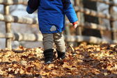 Child walking on rural road — Stock Photo