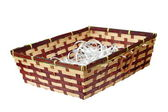 Wattle basket on white — Stock Photo