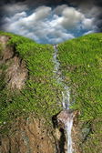 Waterfall over green moss — Stock Photo