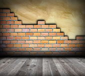 Brick wall with cracks interior backdrop — Stock Photo