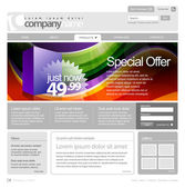 Gray Website Template 960 Grid. — Stock Vector