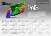 2013 Calendar. Vector Illustration with Puzzle vector element — Stock Vector