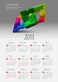 2013 Kalender. Vektor-Illustration mit Puzzle-Vektor-element — Stockvektor