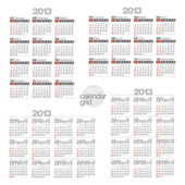 2013 Modern calendars on white background. — Stock Vector
