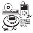 Royalty-Free Stock Vector Image: Vector Icons. MP3 player, CD player and DVD player
